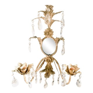 Vintage French Country Tole Mirrored Crystal Sconces - 2 Available For Sale