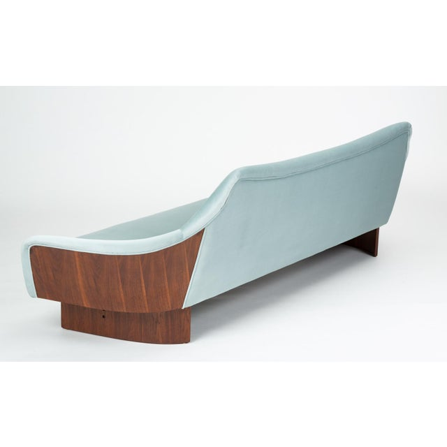 Wood American Made Gondola Sofa in Ice Blue Velvet With Walnut Details For Sale - Image 7 of 13