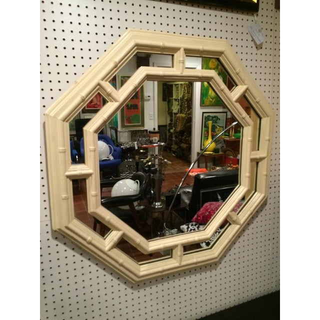 Faux Bamboo Hollywood Regency Octagonal Mirror For Sale - Image 10 of 11