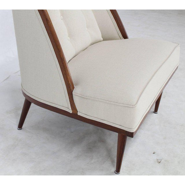 Mid-Century Modern Oiled Walnut Frame Barrel Back Lounge Chairs For Sale - Image 4 of 10