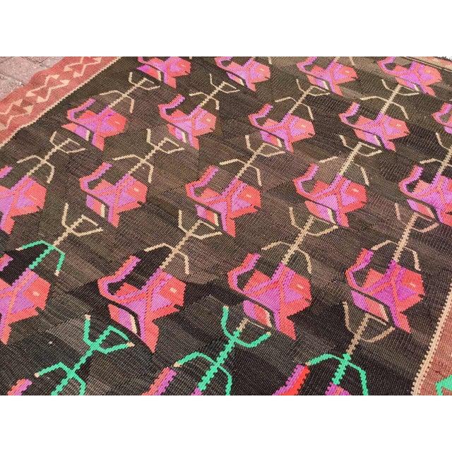 Pink Vintage Floral Kilim Rug For Sale - Image 8 of 11