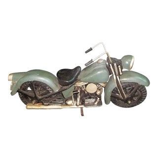 Folk Art Handcrafted Wooden Motorcycle For Sale