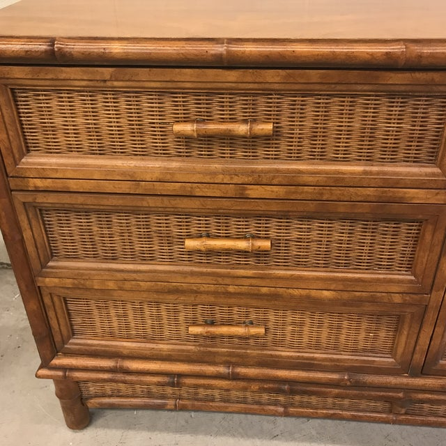 American of Martinsville Faux Bamboo & Wicker 9 Drawer Dresser - Image 5 of 11