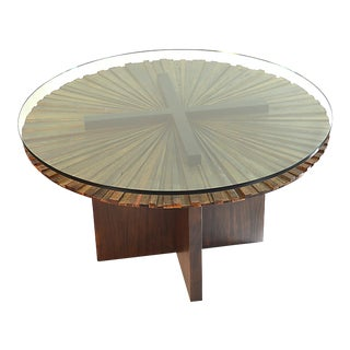 Round Mandala Dining Table - Stained Wood Base For Sale