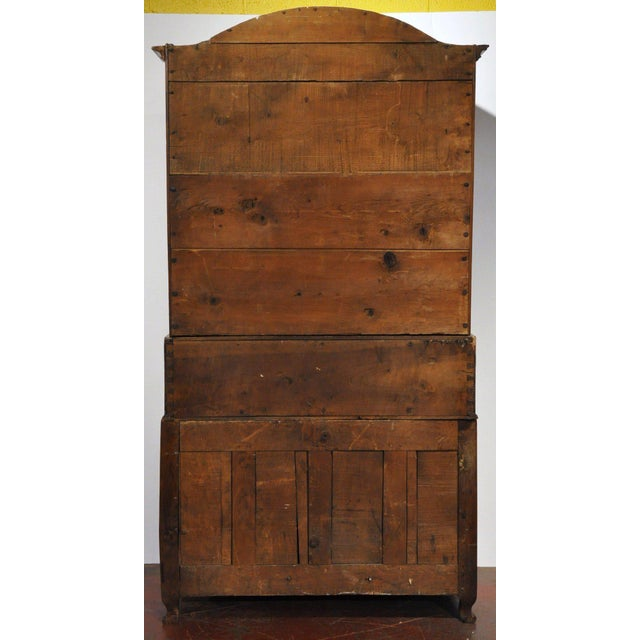 Brown 18th Century French Louis XV Carved Walnut Folding Top Secretary Bookcase For Sale - Image 8 of 8