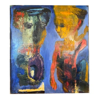 """""""Blue Painting"""" Contemporary Expressionist Style Figurative Oil Painting by Alfred Ortega For Sale"""