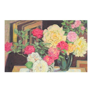 Still Life With Roses in Oil, 20th Century
