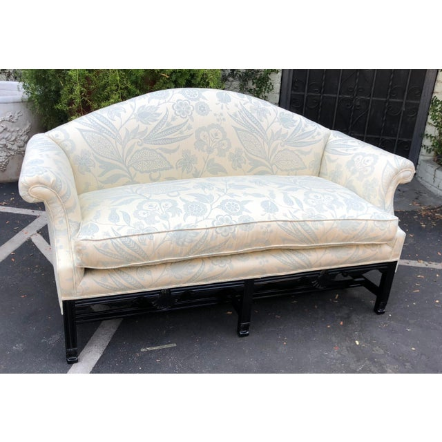 Asian Antique Chinese Chippendale Camelback Sofa Settee W Black Lacquer & Down Cushion For Sale - Image 3 of 7