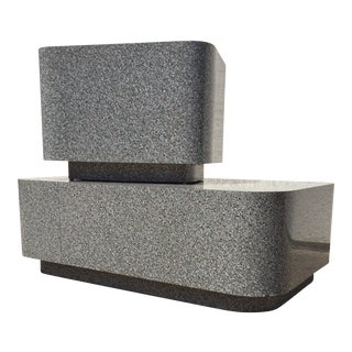 1980s AbstractGranite Laminate Modular Pedestal Table Set - 2 Pieces For Sale