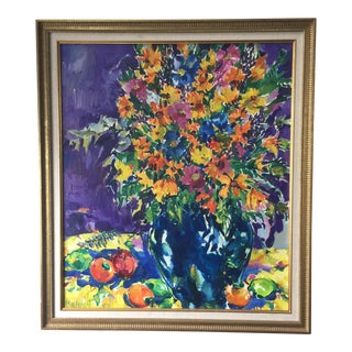 Bright Floral Original Oil Painting on Canvas For Sale