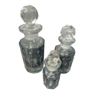 Restoration Hardware Teal Blue Fluted Cut Glass Crystal Perfume Bottles - Set of 3 For Sale