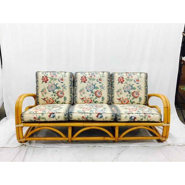 Vintage Mid-Century Rattan Sofa For Sale - Image 5 of 8