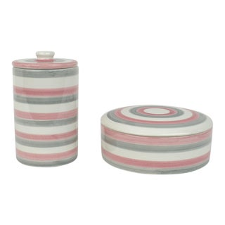 Italian Ceramic Lidded Grey and Pink Stripped Containers