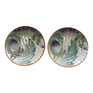 French Majolica Asparagus Plates - a Pair For Sale