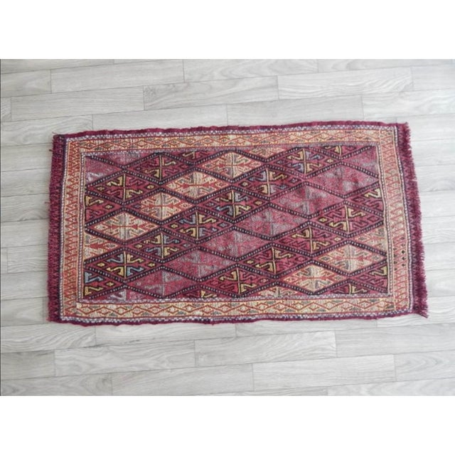 Red Small Turkish Oushak Kilim Rug 1′6″ × 2′9″ For Sale - Image 8 of 8