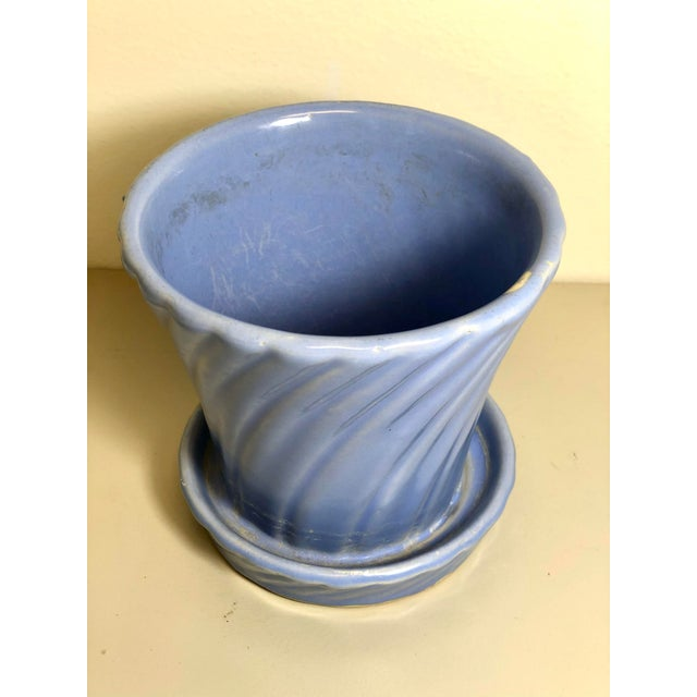 """Vintage 1960s Mid Century Flowerpot And Attached Saucer Small, Blue / Cornflower Blue glaze 4.5""""H x 4.5""""Diam Other colors..."""
