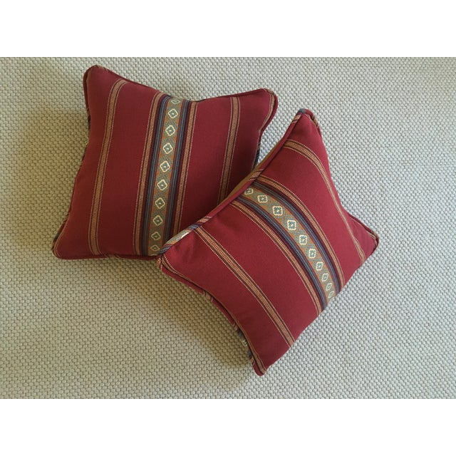 Red Southwestern Stripe Pillows - A Pair - Image 6 of 9