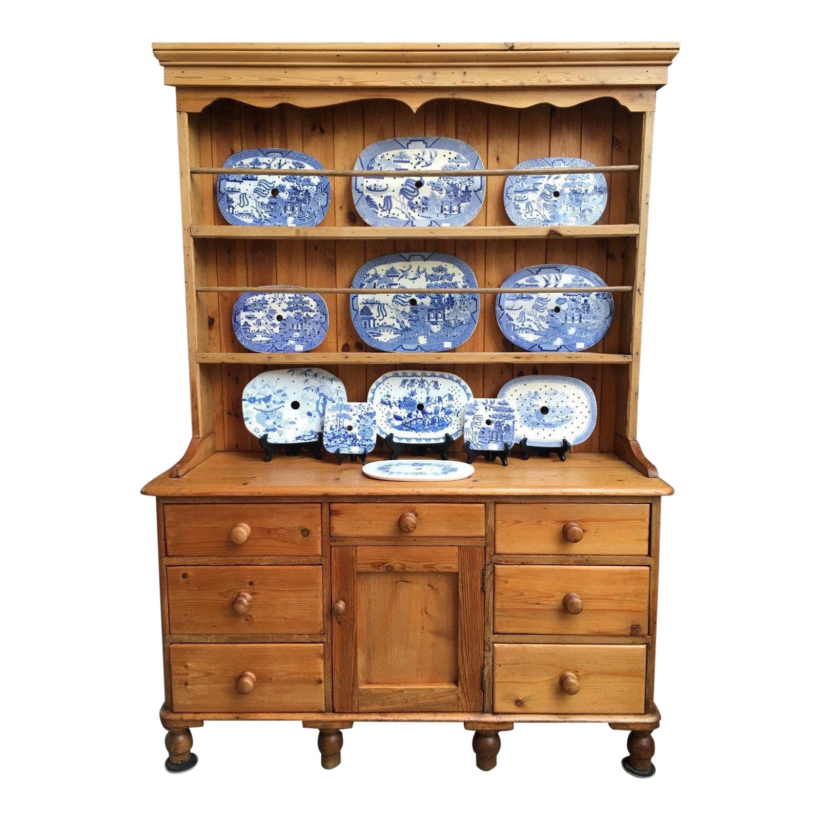 Antique English Pine Welsh Dresser Kitchen Hutch Sideboard Farmhouse  Cupboard