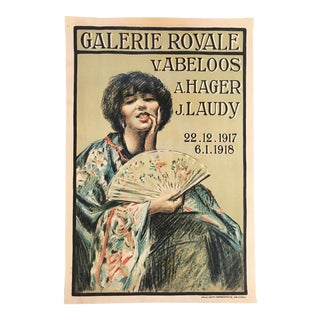 Early 20th Century Antique Galerie Royale French Lithograph Print For Sale