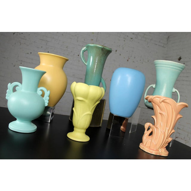 Blue Vintage Collection of Mid-Century Pottery Vases - Set of 7 For Sale - Image 8 of 11