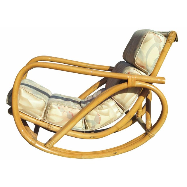 Paul Frankl Restored Pretzel Arm Rattan Rocking Chair and Ottoman - 2 Pieces For Sale - Image 4 of 10