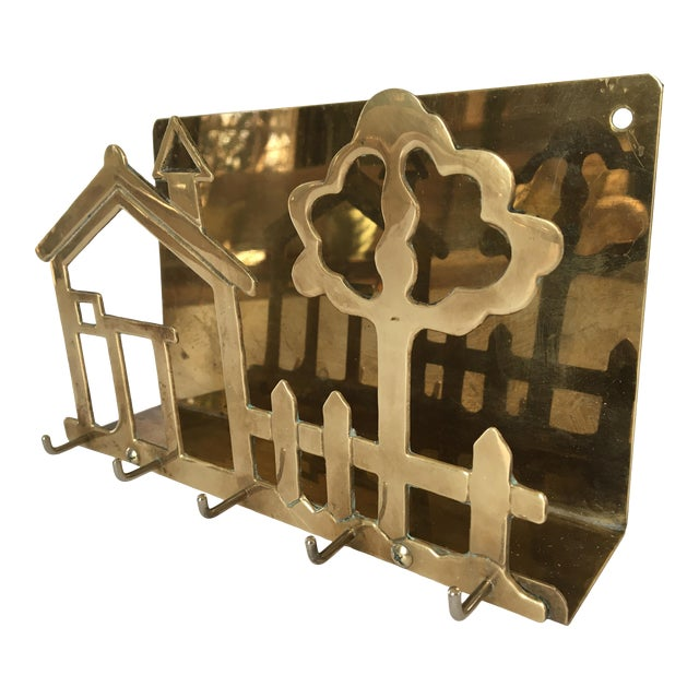 Mid-Century Brass House & Fence Letter Holder and Key Rack For Sale