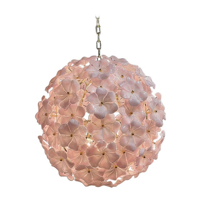 Glass Modern Murano Pink Flower Globe Chandeliers For Sale - Image 7 of 7