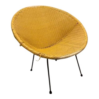 Vintage Mid-Century Atomic Vinyl Yellow Basket Chair For Sale