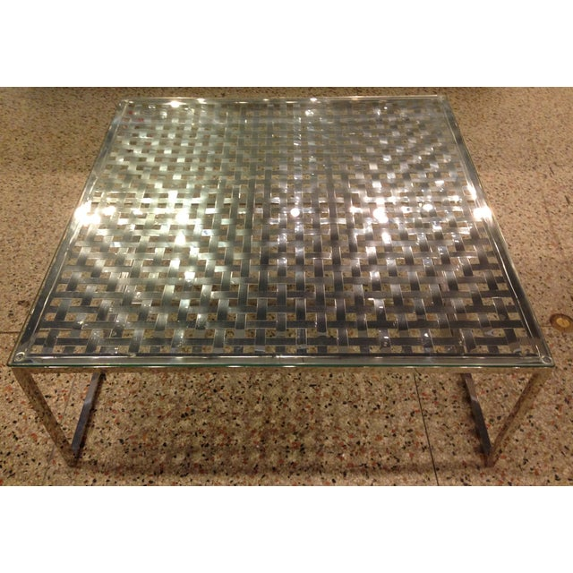 Modern Stainless Steel Lattice Top Coffee Table - Image 2 of 5