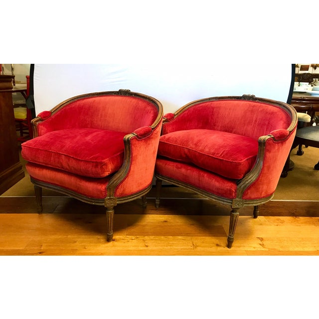 Pair of Belle Epoque French Louis XV Style Red Velvet Bergeres Chairs Armchairs For Sale - Image 4 of 12
