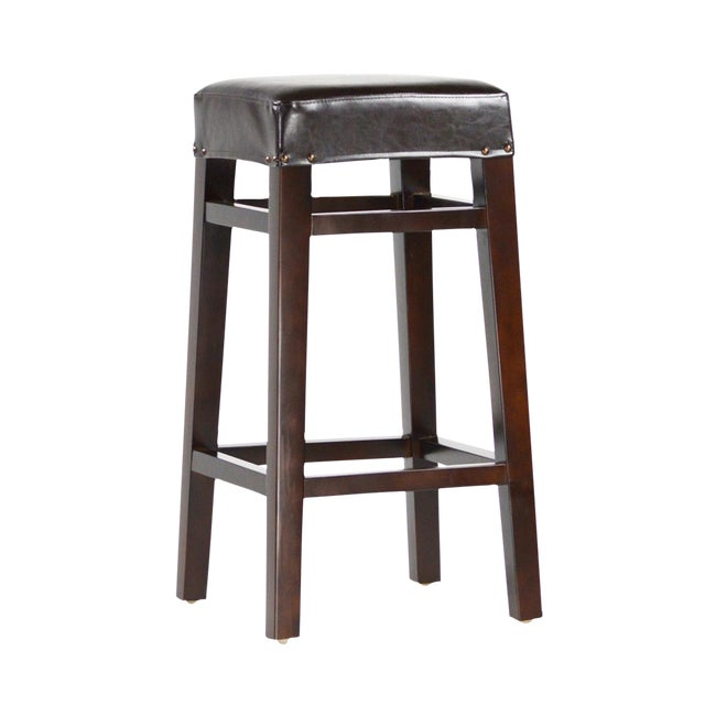 Dark Wood & Leather Bar Stool - Image 1 of 2