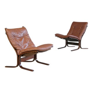 Ingmar Relling Siesta Sling Chairs in Cappuccino Leather for Westnofa - A Pair