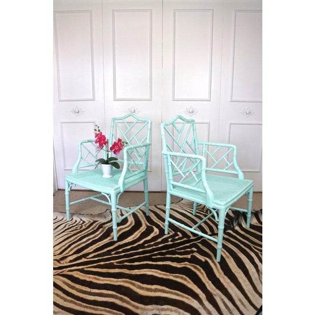 Boho Chic Pale Turquoise Faux Bamboo Chinese Chippendale Chairs- A Pair For Sale - Image 3 of 10