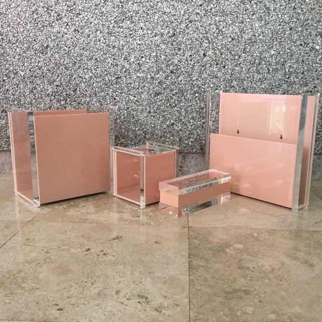 70s Lucite bathroom set of 4 useful accessories- (1) wastebasket, (1) tissue holder, (1) wall-mounted magazine rack, (1)...