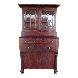 Antique 19th Century Empire Period Mahogany Butler Cabinet Secretary Desk For Sale