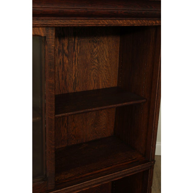 Danner Antique Oak Stacking Sliding Door Bookcases (B) - a Pair For Sale - Image 10 of 13