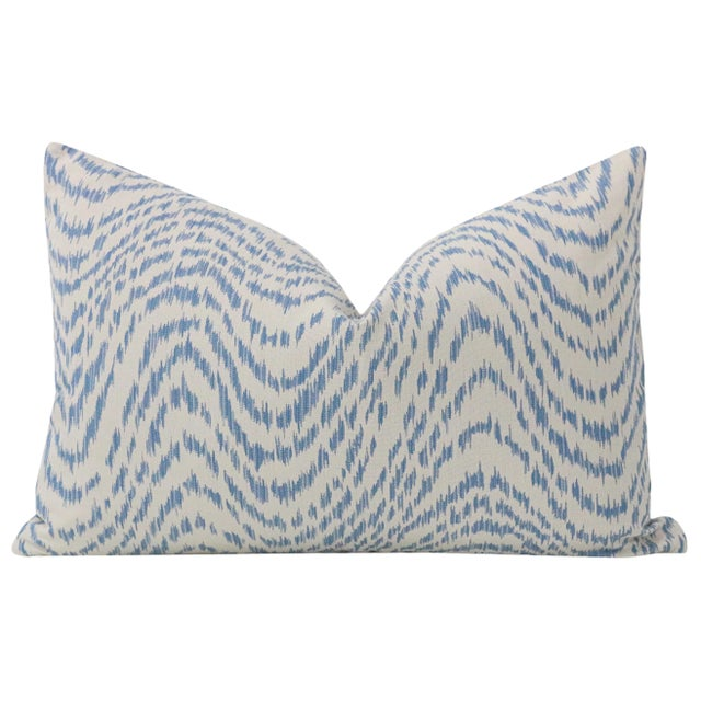 "Contemporary 12"" X 18"" Woven Flamestitch Chambray Lumbar Pillows - a Pair For Sale - Image 3 of 5"