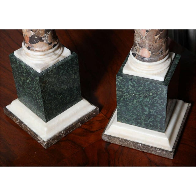 Gray Pair of Grand Tour Columns in Porphyry, Breche and Alabaster For Sale - Image 8 of 9