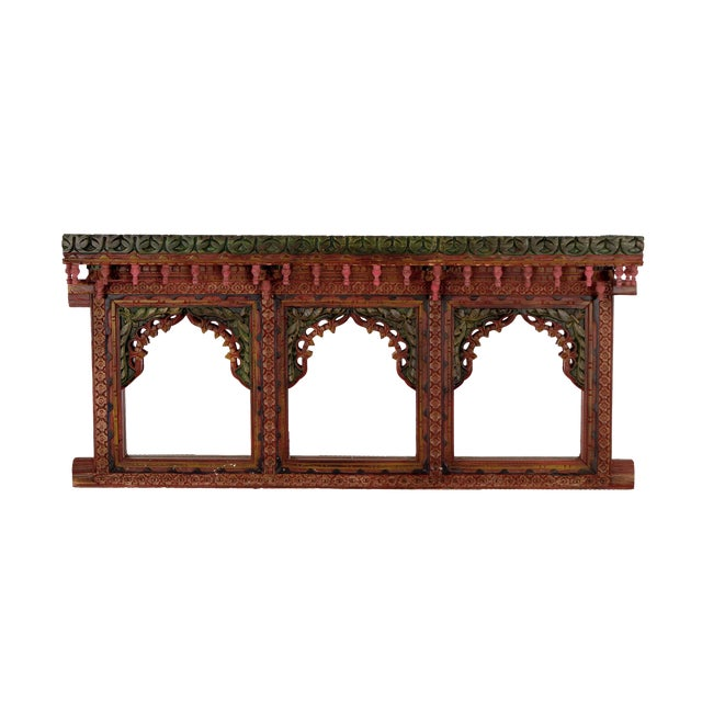 Wooden Carved Hand Painted Jharokha Wall Mirror Frame For Sale