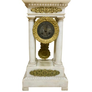 Mid 19th Century French Charles X Marble and Brass Portico Mantel Clock Circa 1860 For Sale