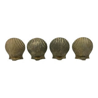 Mid-Century Silver Plate Scallop Place Holders - Set of 4 For Sale