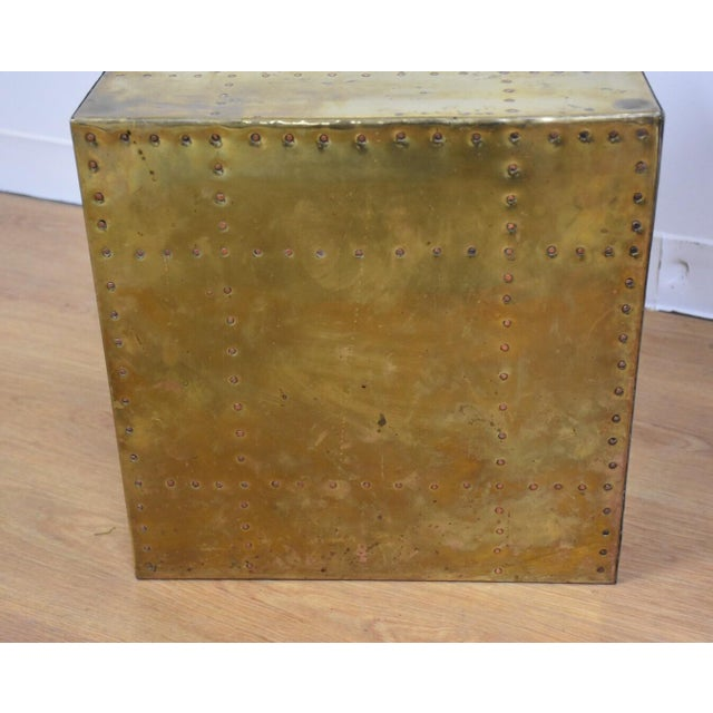 Sarreid Brass Cube End Table - Image 3 of 8