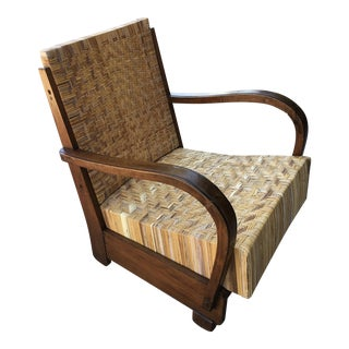 1920s Vintage British Colonial Art Deco Lounge Chair For Sale
