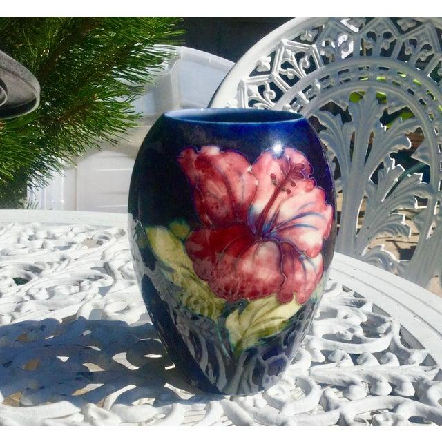 1940s Moorcroft Cobalt Floral Vase For Sale - Image 5 of 5
