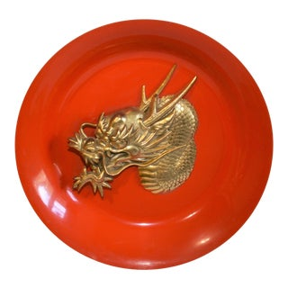 Chinese Mid Century Brass Dragon Orange Enameled Metal Plate Wall Hanging For Sale