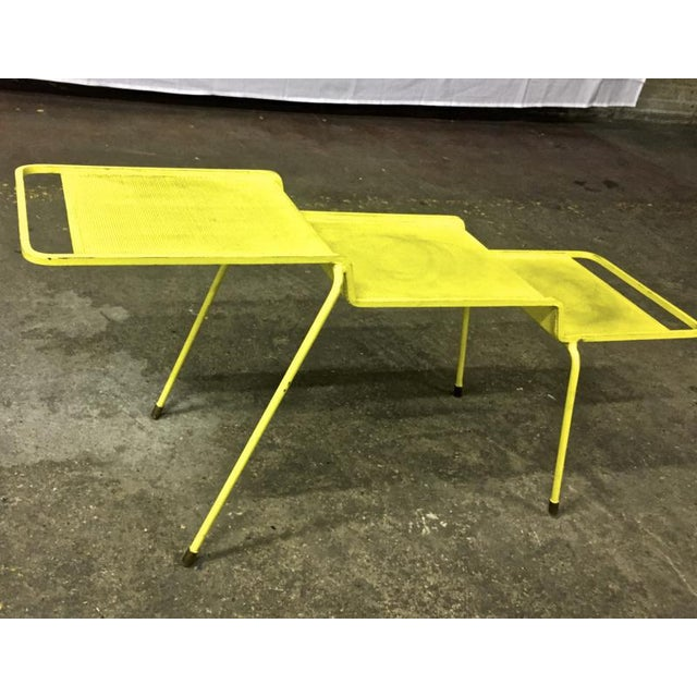 Contemporary Mathieu Mategot Coffee Table in Yellow Painted Iron and Rigitule For Sale - Image 3 of 8