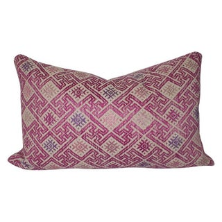 Vintage Handwoven Wedding Quilt Lumbar Pillow
