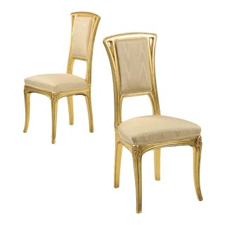 Art Nouveau Gilt Wood Side Chairs - A Pair For Sale