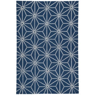 Jaipur Living Haige Indoor/ Outdoor Geometric Navy/ White Area Rug - 5′ × 7′6″ For Sale
