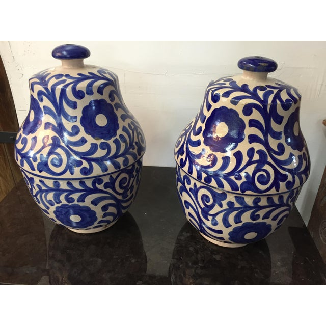 Moroccan Painted Blue & White Jar - A Pair - Image 2 of 3